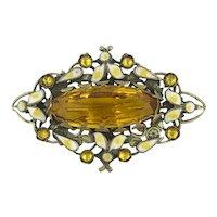 Czechoslovakian Enamel Yellow Cut Glass Citrine Golden Topaz Color Czech Pin Brooch