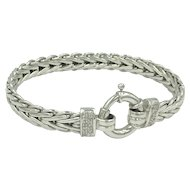14K White Gold Diamond Byzantine Chain Link Bracelet