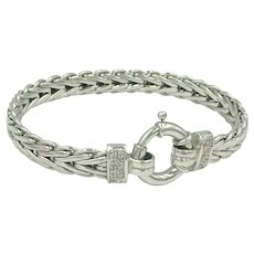 14K White Gold Diamond Byzantine Chain Link Bracelet