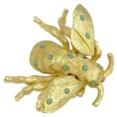 Movable Bumble Bee Faux Turquoise Gemstone Flying Insect Pin Brooch