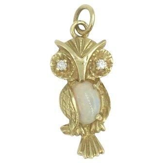 14K Gold Diamond Opal Gemstone Owl Charm Pendant