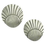 Georg Jensen Denmark Designer Sterling Silver Shell Seashell Screw Earrings