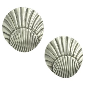 Georg Jensen Denmark Designer Sterling Silver Shell Seashell Screw Earrings