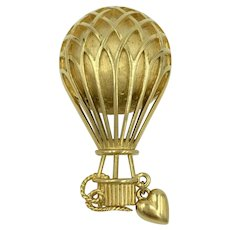 Trifari Hot Air Balloon Gold-Tone Designer Pin Brooch