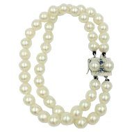 14K White Gold Pearl Blue Sapphire Genuine Gemstone Double Strand Bracelet