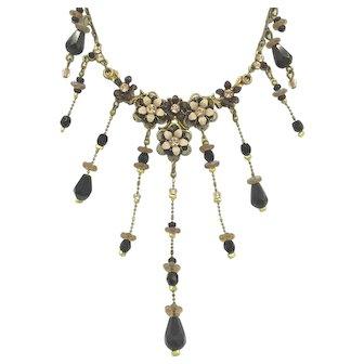 Floral Enamel Michael Negrin Signed Designer Crystal Flower Necklace