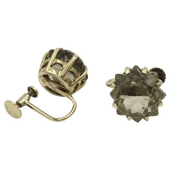 9K Topaz Earrings Crown Setting Smokey Topaz Quartz Screw Back English Hallmark