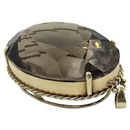 HUGE 14K Topaz Gold Pendant Massive Oval Gemstone Necklace Pendant