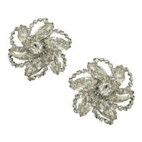 Weiss Rhinestone Flower Clip Earrings Signed Designer Vintage Bridal Wedding