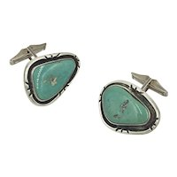 Native American Turquoise Gemstone Sterling Silver Cufflinks
