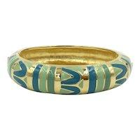 Vintage Enamel Joan Rivers Bangle Clamper Bracelet