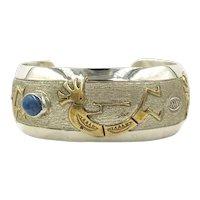 Navajo Rainbow Man Gold Sterling Silver Blue Lapis Native American Cuff Virgil Reeder Bracelet