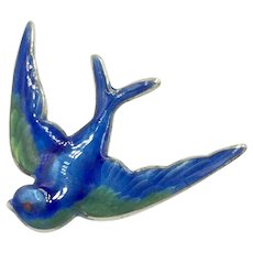 Blue Hand Painted Enamel Swallow Bird 1930's -1940's Guilloche Cobalt Sterling Pin Brooch