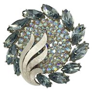 Trifari Silver Blue Rhinestone Brooch Silver-Tone Aurora Borealis Contemporary Modern Design