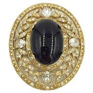 Kirks Folly Rhinestone Black Faux Onyx Cabochon Oval Brooch Designer Pin