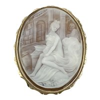 14K Gold Cameo Nude Bath House Pin Brooch Pendant