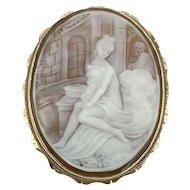 14K Gold Cameo Nude Bath House Pin Brooch Pendant