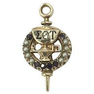 10K Gold Seed Pearl Enamel Sigma Theta Epsilon Fraternal Frat Pin Pendant Brooch