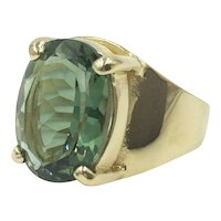 Sterling Gold Vermeil Green Crystal Stone Vintage 1980's Cocktail Ring