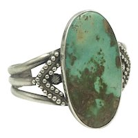 Turquoise Native American Sterling Silver Huge Artisan Cuff Bracelet
