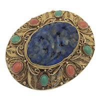 Carved Lapis Coral Turquoise Gold Wash Silver Brooch Pin