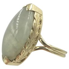 Jade 14K Gold Vintage Ming's of Hawaii Leaf Design Ring