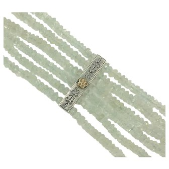 Aquamarine Bracelet Anatoli Sterling 14K Gold Baby Blue Gemstone Fleur de Lis Flower