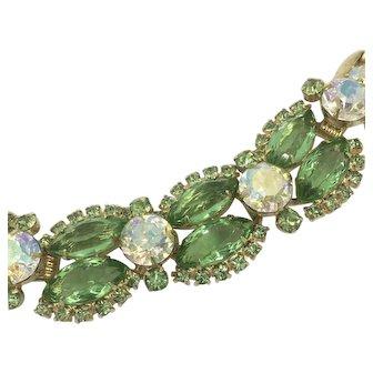 Delizza & Elster Rhinestone Bracelet Peridot-Green Color Crystal Rhinestones & Aurora Borealis Chantons