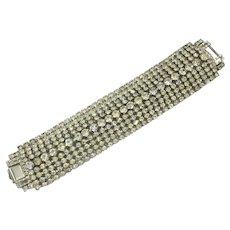Huge Wide Clear White Rhinestone Crystal Vintage Nine Row Bracelet 1940's 1950's
