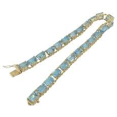 10K Gold Blue Topaz Gemstone Rope Chain Bracelet