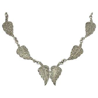 Marcasite Sterling Silver Leaf Design Leaves Hand Set Marcasite Necklace