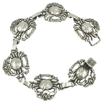 Crab Zodiac Cancer the Crab Astrology Horoscope Sterling Silver Bracelet