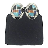 Carolyn Pollack Relios Gemstone Sterling Silver Earrings Turquoise Malachite Lapis Coral Onyx