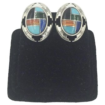 Carolyn Pollack Relios Inlaid Gemstone Sterling silver Earrings with Turquoise Malachite Lapis Coral & Onyx