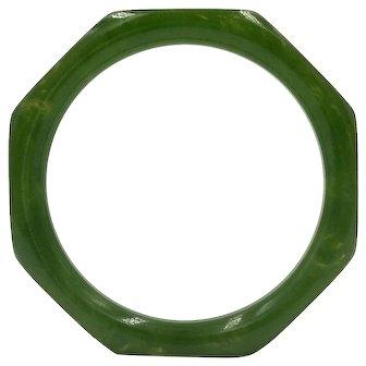 Octagon Green Bakelite Vintage Bangle Octagonal Bracelet