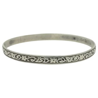 Danecraft Felch Sterling Silver Bangle Bracelet with Vines Flowers and Ivy Leafs