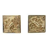 Scorpio Stars Cufflinks Astrological Scorpion 14K Yellow Gold Square Cuff Links