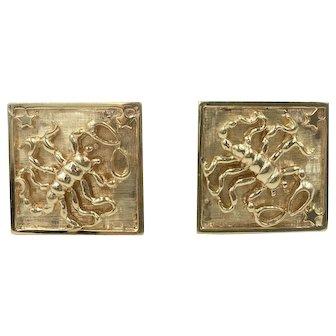 Scorpio Stars Cufflinks Astrological Scorpion 14K Yellow Gold Square Cuff Links