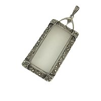 Art Deco Camphor Glass Sterling Marcasite Pendant Crystal