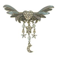 Kirks Folly Enamel Winged Heart Moon Stars Swarovski Crystal Rhinestone Pin Brooch