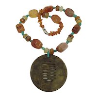 Carnelian Turquoise Sterling Silver Gemstone Asian Necklace