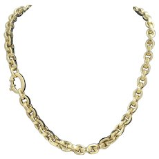 14K Yellow Gold Chain Link Necklace Italian Rich Chic
