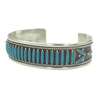 Navajo Turquoise Native American Indian Sterling Silver Cuff Petit Point Turquoise Bracelet
