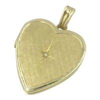 14K Diamond Heart Locket Yellow Gold Charm Pendant