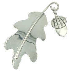Acorn Leaf Anne Harvey Sterling Silver Mexico Movable Pin Brooch