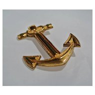 Vintage Gold Filled Anchor  Brooch