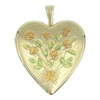 Gold Enamel Flower Heart Locket Pendant 10K Yellow Gold