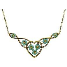 Enamel Heart Flower Forget Me Not Robbins Egg Blue Necklace Signed Krementz