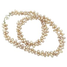 Baroque Pink Cultured Pearl Sterling Silver Two Strand Double Fresh Water Pearl Necklace
