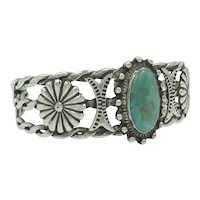 Turquoise Sterling Silver Flower Beaded Metal Work Rope Cuff Bracelet